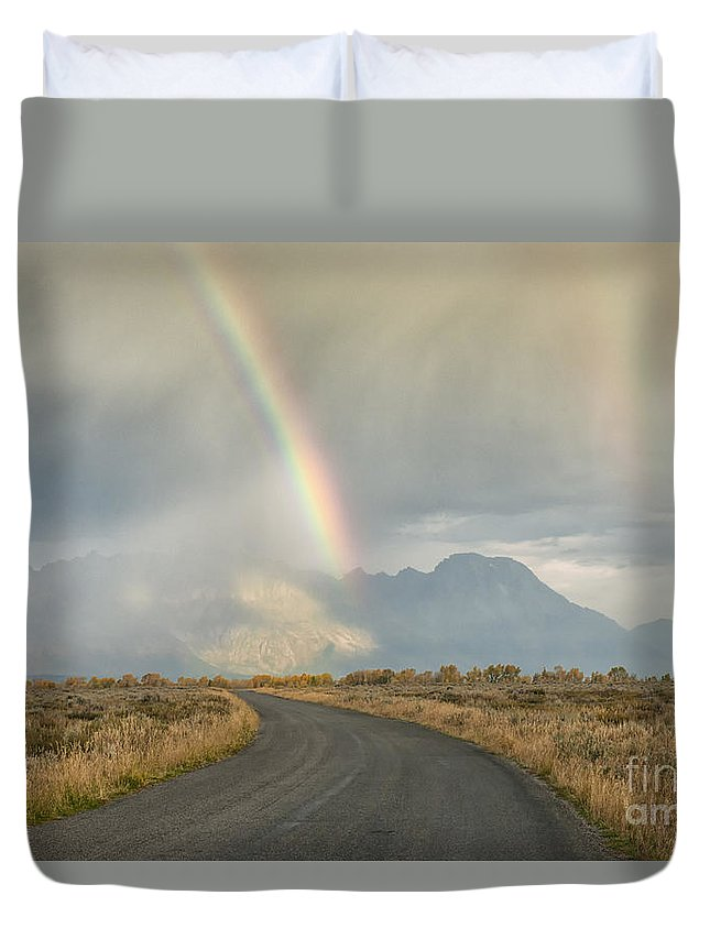 Grand Tetons Duvet Cover featuring the photograph End Of The Rainbow by Sandra Bronstein