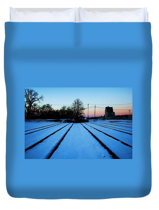 Sunset Duvet Cover featuring the photograph End Of The Tracks by Angus Hooper Iii
