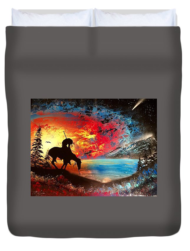 Duvet Cover featuring the painting End Of The Trail 2 by Trent Curnow