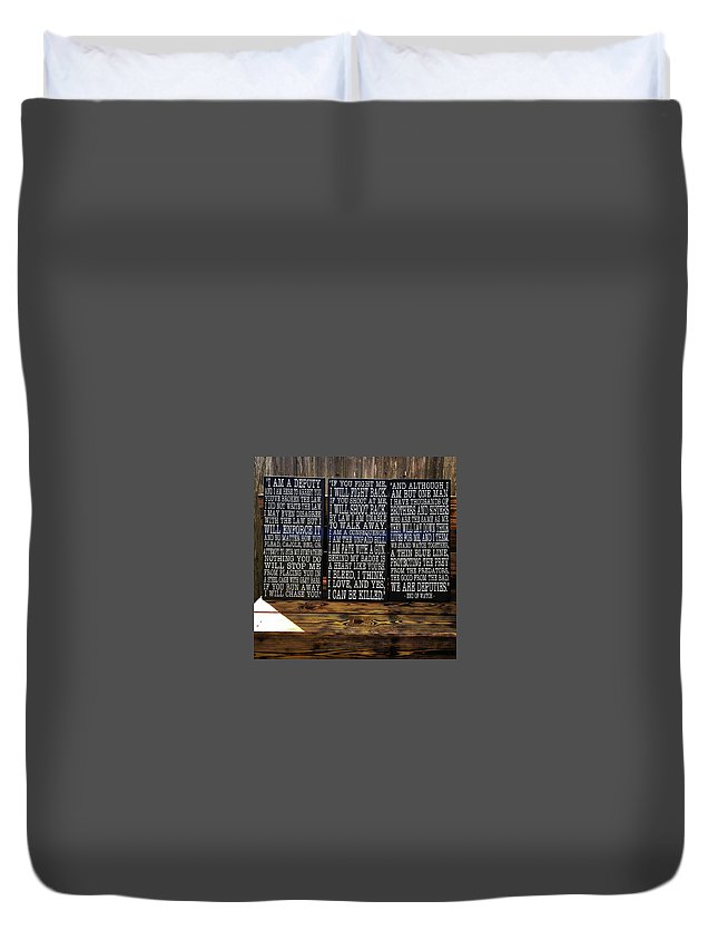 Police Duvet Cover featuring the painting End Of Watch by Kazia Brown