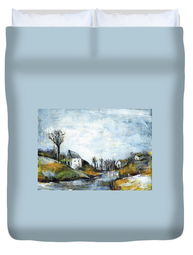 Landscape Duvet Cover featuring the painting End Of Winter - Acrylic Landscape Painting On Cotton Canvas by Aniko Hencz
