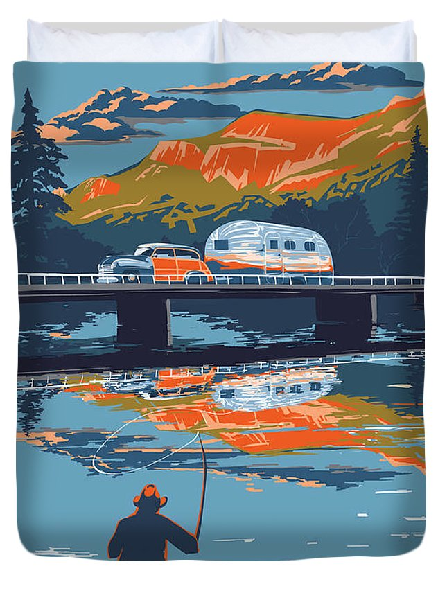 Airstream Art Duvet Cover featuring the painting Enderby Cliffs retro Airstream by Sassan Filsoof