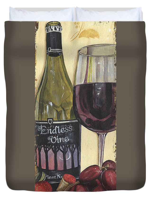 Wine Duvet Cover featuring the painting Endless Vine Panel by Debbie DeWitt