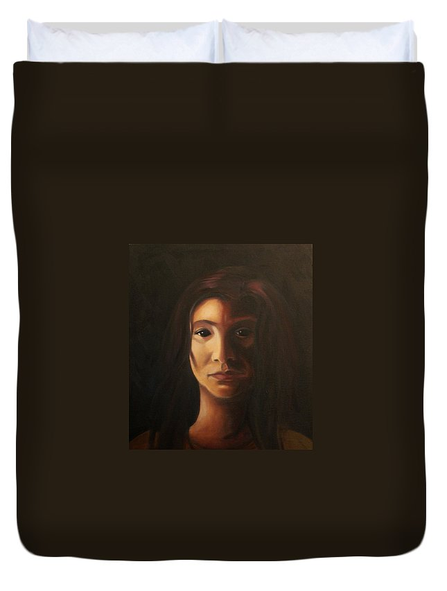 Woman In The Dark Duvet Cover featuring the painting Endure by Toni Berry
