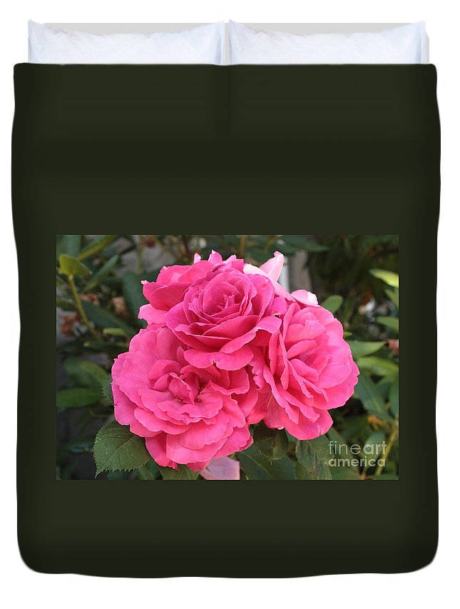 Pink Duvet Cover featuring the photograph Energizing Pink Roses by Carol Groenen