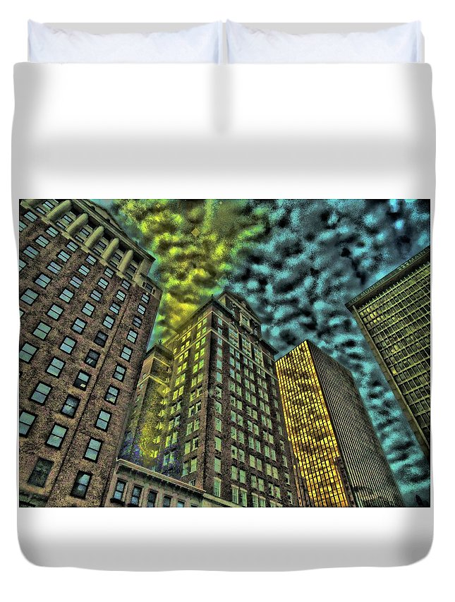 Skyscraper Duvet Cover featuring the digital art Energy Chute by Vincent Green