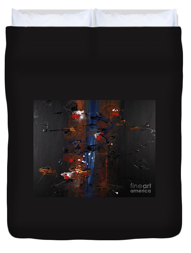 Black Duvet Cover featuring the painting Energy by Nadine Rippelmeyer
