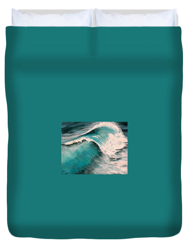 Waves Duvet Cover featuring the painting Energy by Racquel Morgan