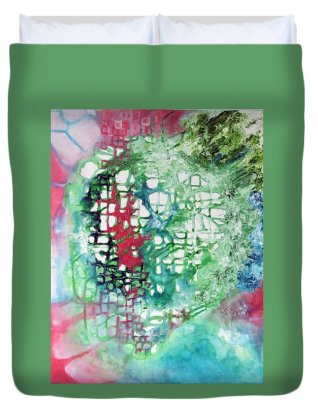 Painting Duvet Cover featuring the painting Energy by Upasana Kedia