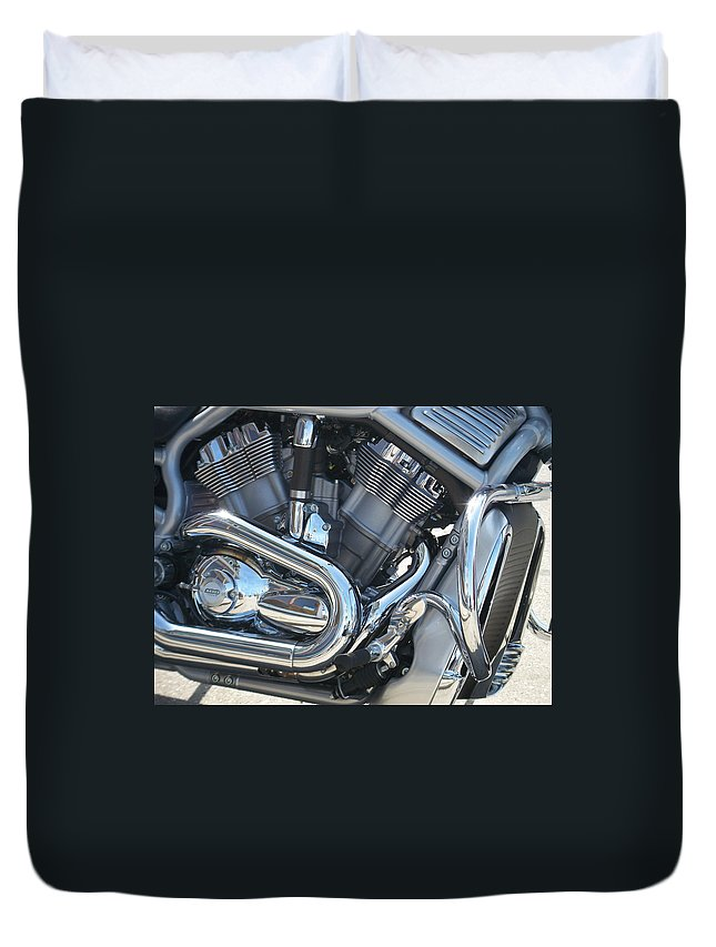 Motorcycle Duvet Cover featuring the photograph Engine Close-up 1 by Anita Burgermeister