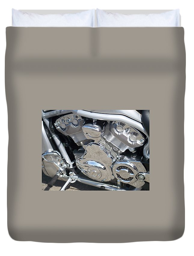 Motorcycle Duvet Cover featuring the photograph Engine Close-up 2 by Anita Burgermeister