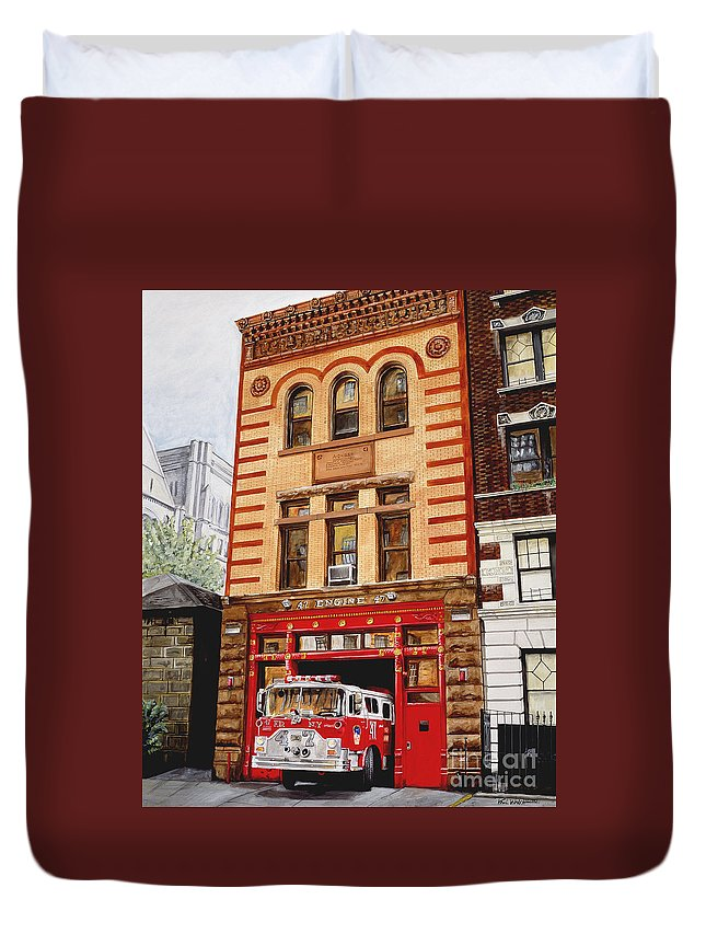 Firehouse Duvet Cover featuring the painting Engine Company 47 by Paul Walsh
