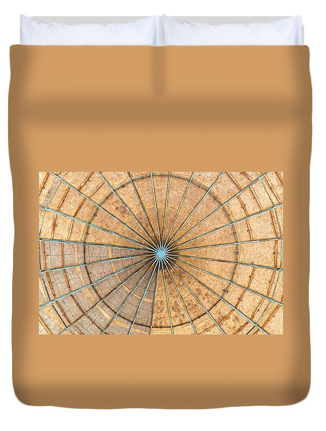 Engineered Duvet Cover featuring the photograph Engineered Wood Dome by Alain De Maximy
