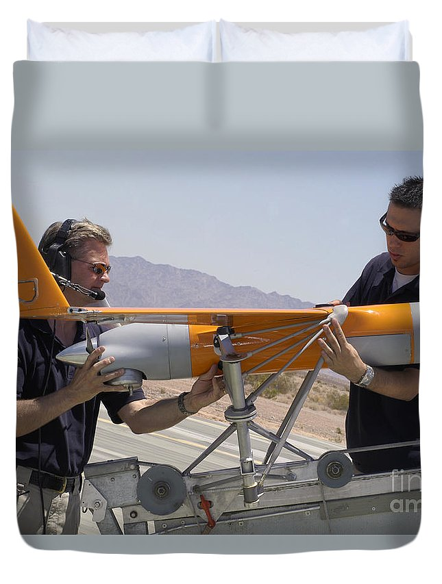 Boeing Duvet Cover featuring the photograph Engineers Mount A Scaneagle Unmanned by Stocktrek Images