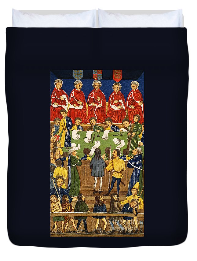 Duvet Cover featuring the painting England: Court, 15th Century by Granger
