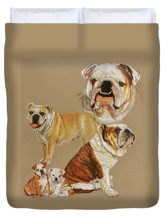 Purebred Duvet Cover featuring the drawing English Bulldog by Barbara Keith
