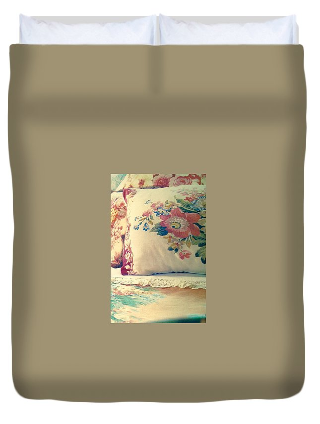 Duvet Cover featuring the photograph English Chintz With Green Tone by Jacqueline Manos