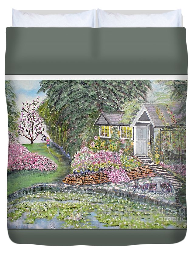 Cottage Duvet Cover featuring the painting English Cottage by Hal Newhouser