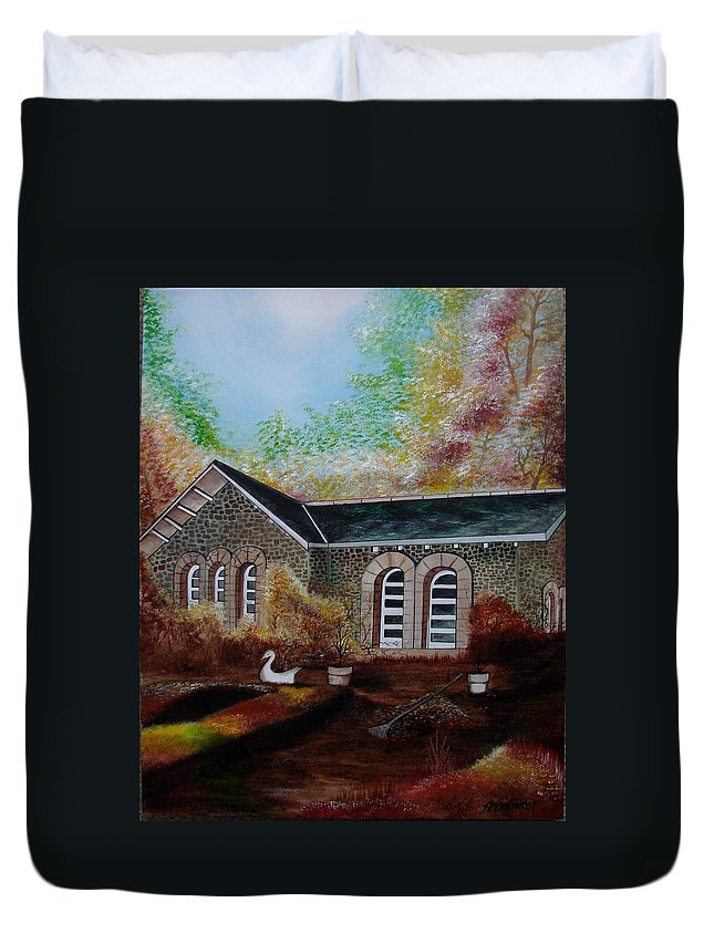 Autmn Duvet Cover featuring the painting English Cottage In The Autumn by Glory Fraulein Wolfe