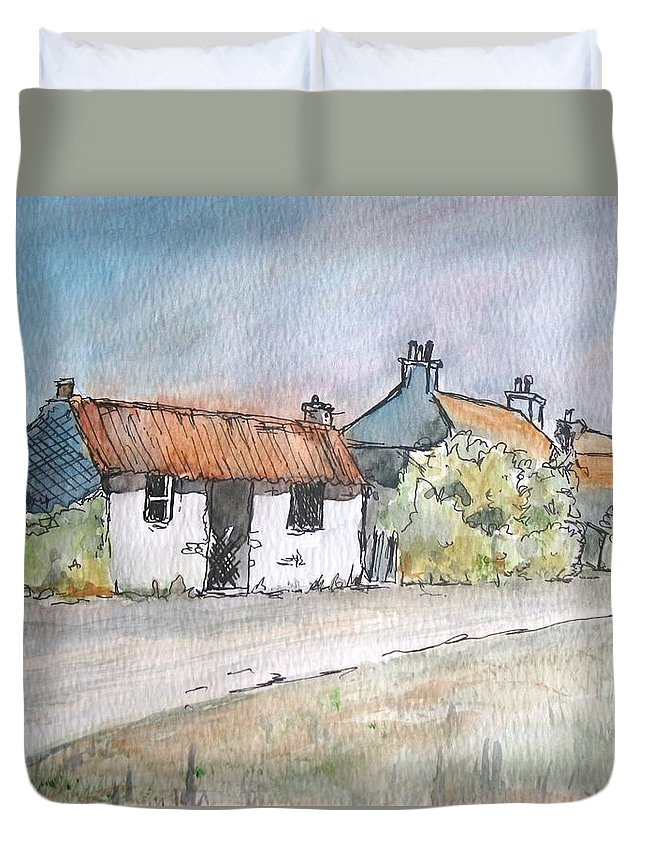 Old Duvet Cover featuring the painting English Cottage by Lisa Cini