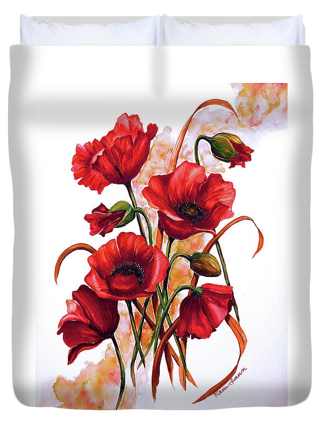 Red Poppies Paintings Floral Paintings Botanical Paintings Flower Paintings Poppy Paintings Field Poppy Painting Greeting Card Paintings Poster Print Painting Canvas Print Painting  Duvet Cover featuring the painting English Poppies 2 by Karin Dawn Kelshall- Best