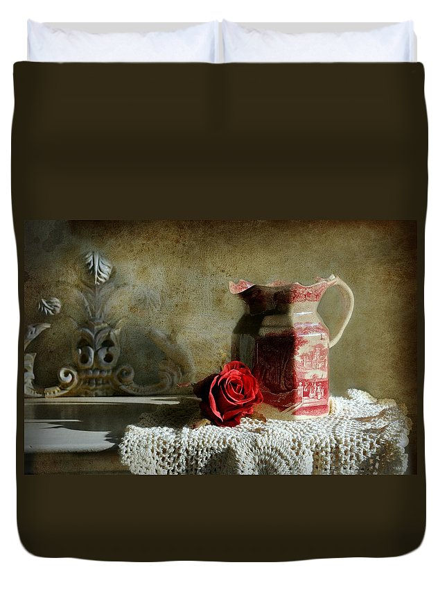 Still Life Duvet Cover featuring the photograph English Rose Water by Diana Angstadt