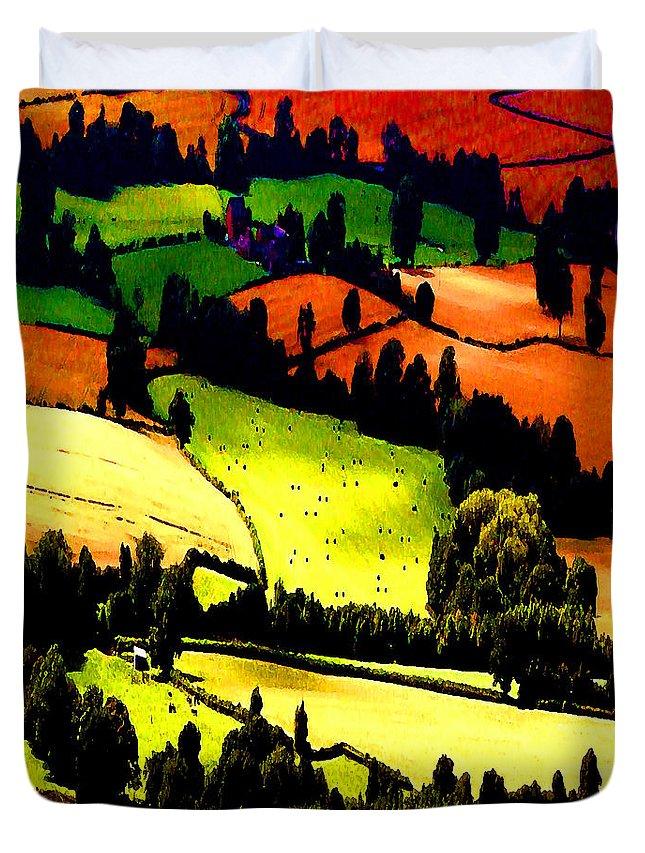 Summer Fields Duvet Cover featuring the photograph English Summer Fields by P Donovan