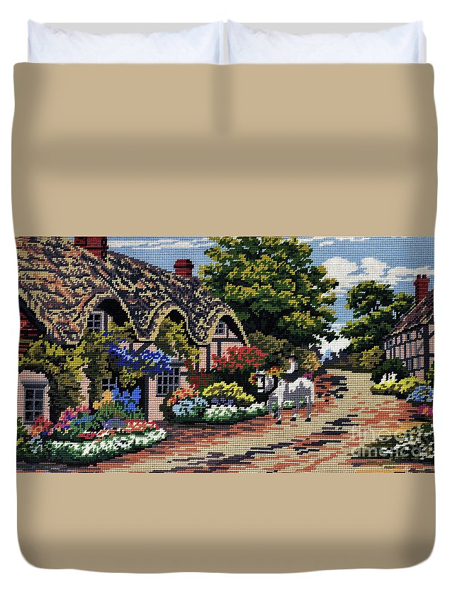 English Tapestry Duvet Cover featuring the tapestry - textile English Tapestry by Kaye Menner