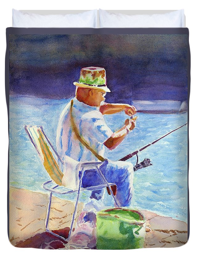 Fisherman Duvet Cover featuring the painting Engrossed by Mohamed Hirji