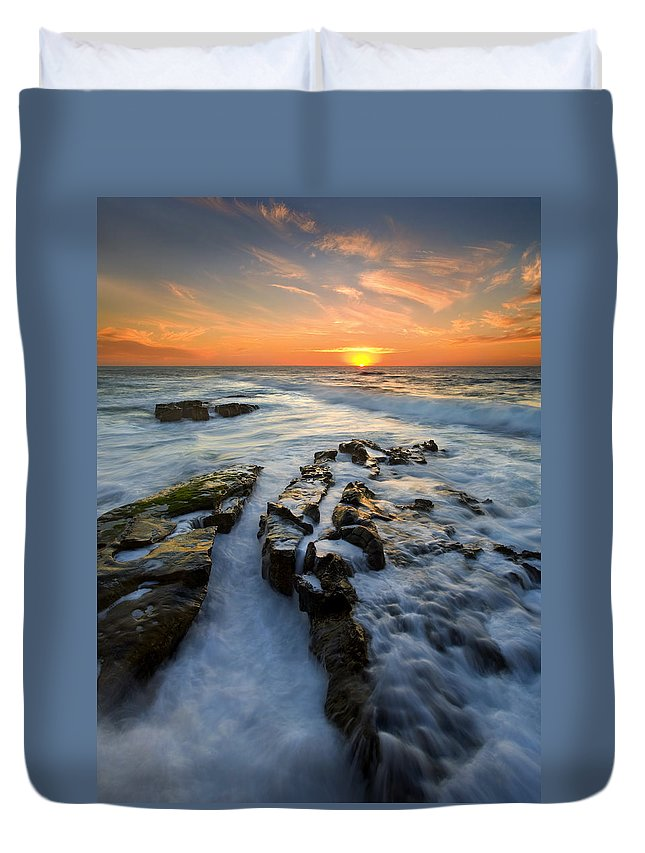 Sunset Duvet Cover featuring the photograph Engulfed by Mike Dawson