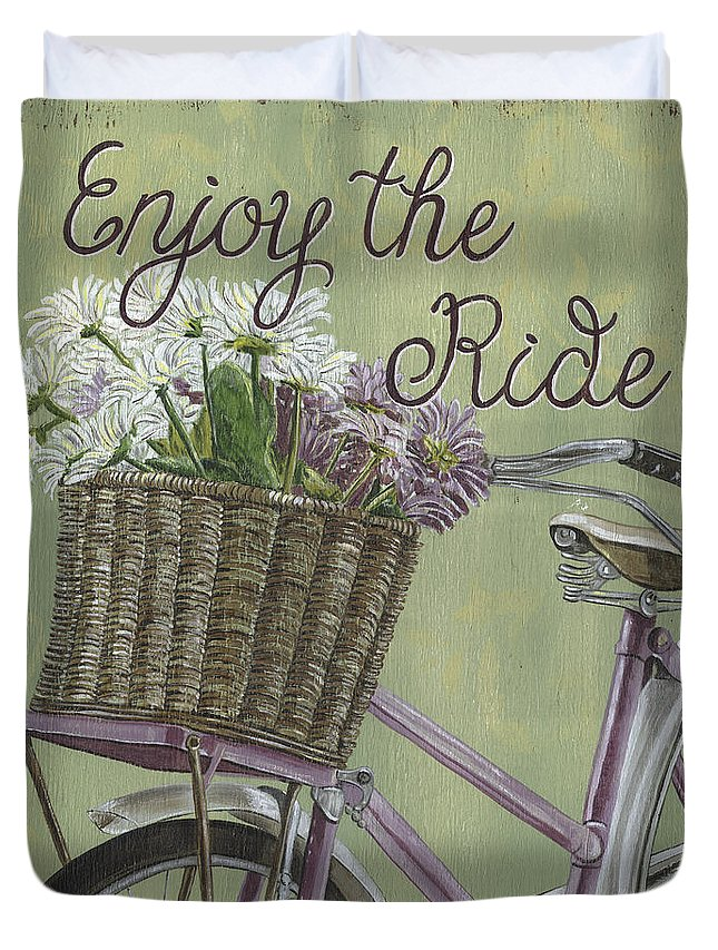 Bike Duvet Cover featuring the painting Enjoy The Ride by Debbie DeWitt