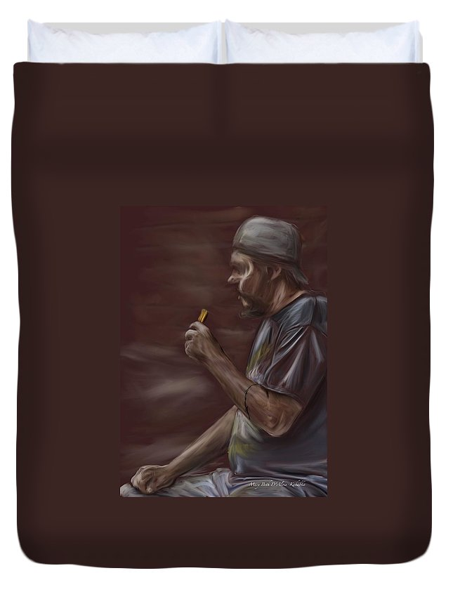 Biker Duvet Cover featuring the painting Enjoying A Payday by Mary Beth D'Aloia