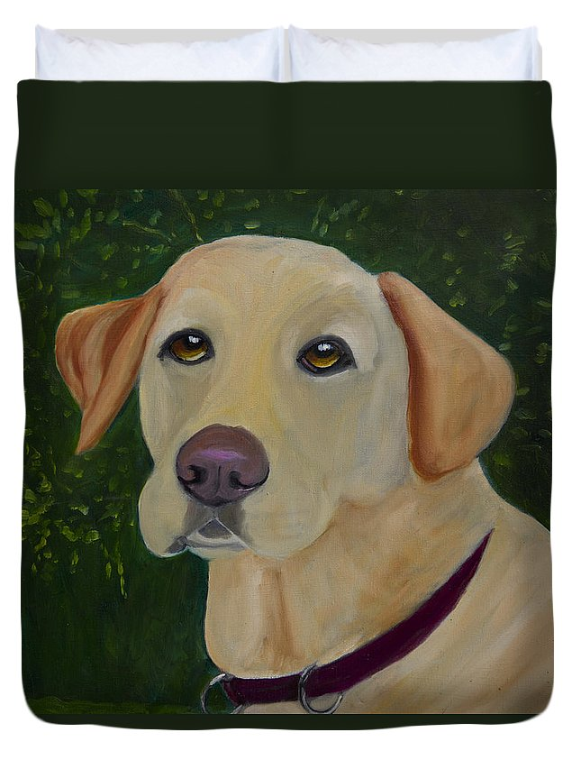 Yellow Lab Duvet Cover featuring the painting Enjoying The Garden by Roger Wedegis