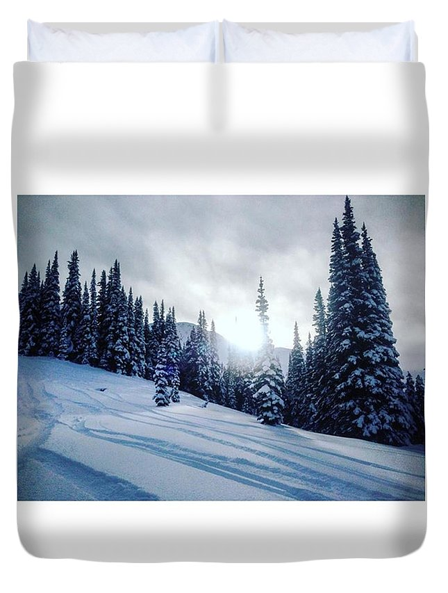 Hikeadventures Duvet Cover featuring the photograph Snowy Sunset by Outdoor Explorers