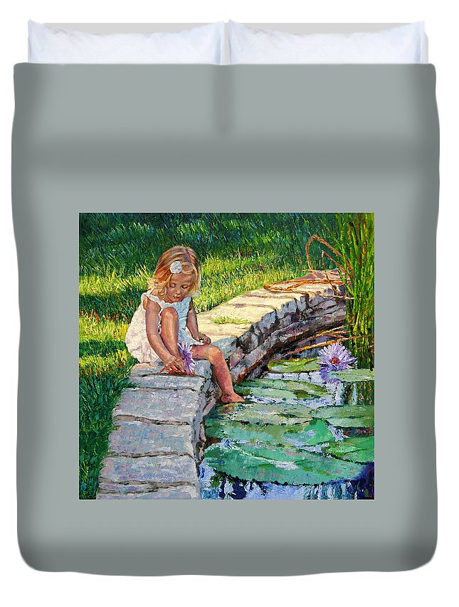 Small Girl Duvet Cover featuring the painting Enjoying Yesterdays Sunlight by John Lautermilch