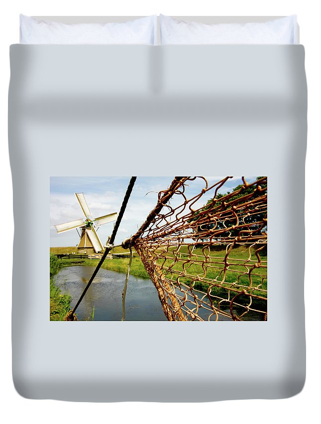Enkhuizen Duvet Cover featuring the photograph Enkhuizen Windmill And Nets by KG Thienemann