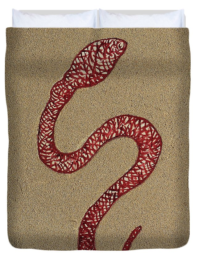 Snake Duvet Cover featuring the painting Enki by Barbara Cardinali