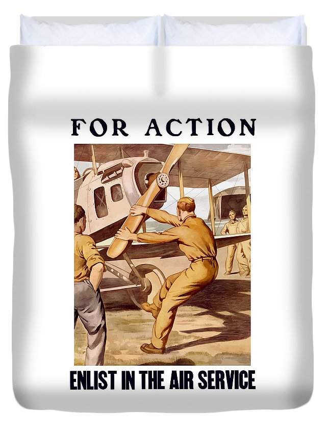 Air Force Duvet Cover featuring the painting Enlist In The Air Service by War Is Hell Store
