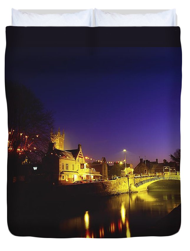 Flat Duvet Cover featuring the photograph Ennis, Co Clare, Ireland Bridge Over by The Irish Image Collection