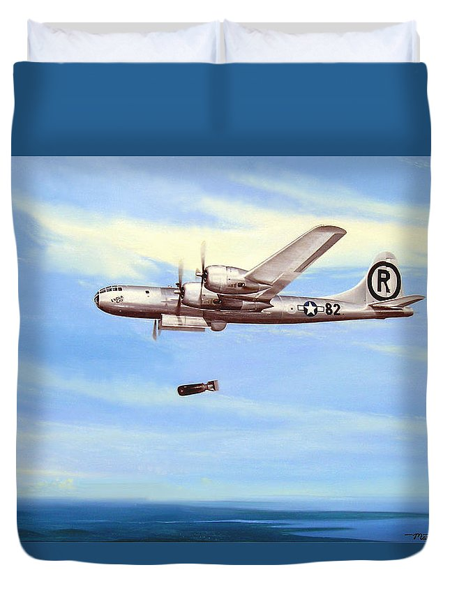 Military Duvet Cover featuring the painting Enola Gay by Marc Stewart