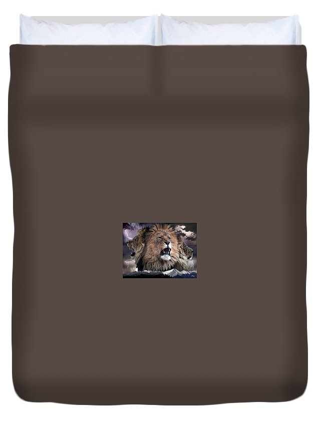 Lions Duvet Cover featuring the digital art Enough by Bill Stephens
