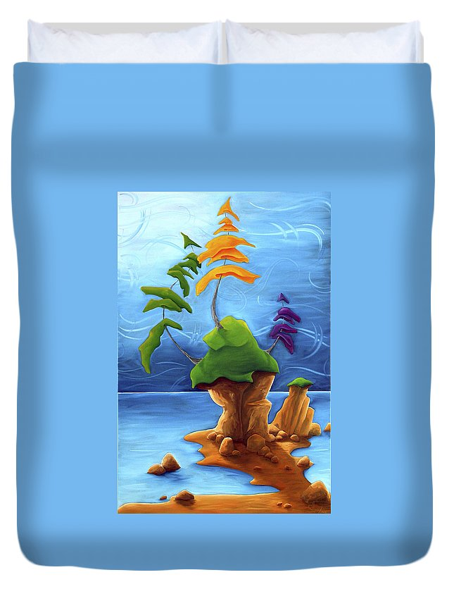 Landscape Duvet Cover featuring the painting Enraptured by Richard Hoedl