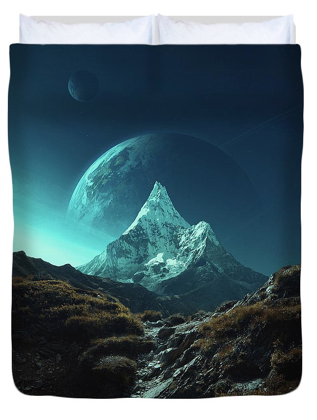 Mountains Landscape Sciencefiction Fantasy Planets Blue Sky Mystery Peak Mountain Rocks Grass Pass Moon Earth Light Duvet Cover featuring the photograph Enroute To Delta Pavonis by Michal Karcz