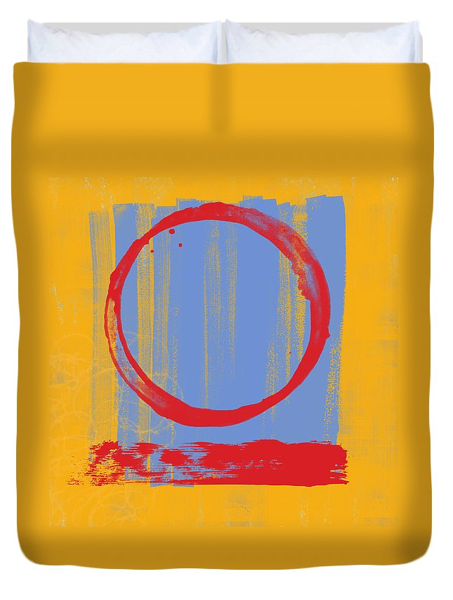 Red Duvet Cover featuring the painting Enso by Julie Niemela