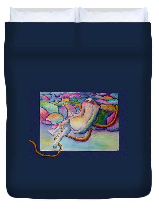Figure Duvet Cover featuring the painting Entangled Figure With Rocks by Nancy Mueller