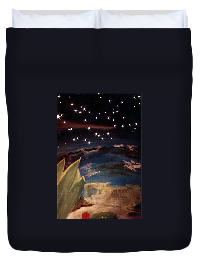 Surreal Duvet Cover featuring the painting Enter My Dream by Steve Karol
