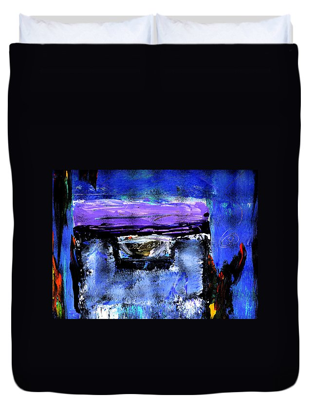 Abstract Duvet Cover featuring the painting Enter by Wayne Potrafka