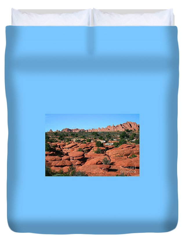 Stone Pancake Duvet Cover featuring the painting Entrada Sandstone Formations - Arches National Park by Corey Ford