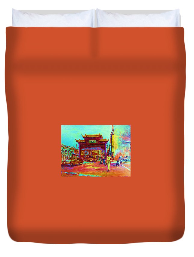 Montreal Duvet Cover featuring the painting Entrance To Chinatown by Carole Spandau