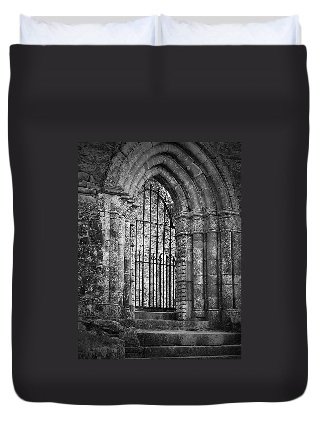 Irish Duvet Cover featuring the photograph Entrance To Cong Abbey Cong Ireland by Teresa Mucha
